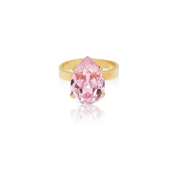 Mini Drop Crystal Ring in Rosaline Pink