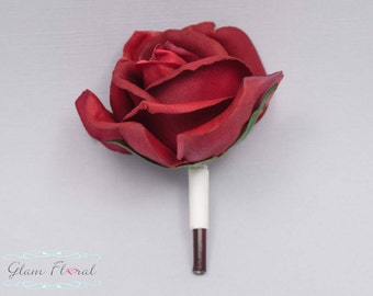Red Rose Boutonniere . Real Touch Flowers. Caroline Rose Collection, Flowers for men, Wedding Boutonniere, Button Hole, Prom, Groom