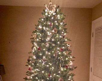 Topper arbre blanc étoile de David avec des Clips clairs, éclairé arbre Interfaith Topper, vitrail étoile juive, étoile à Six branches