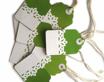"""12 - 2.25""""x1.5"""" Lime Green Lace Kraft Gift Tags, All Repurposed, Recycled Materials, Hand Punched"""