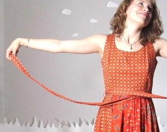 Floral folk dress revamped vintage ethnic red small FOLK FEMME
