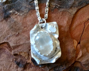 Moonstone clear quartz and sterling Silver Necklace