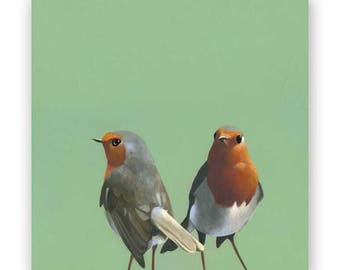 European Robin Pair - 8 x 8 Wings on Wood Decor