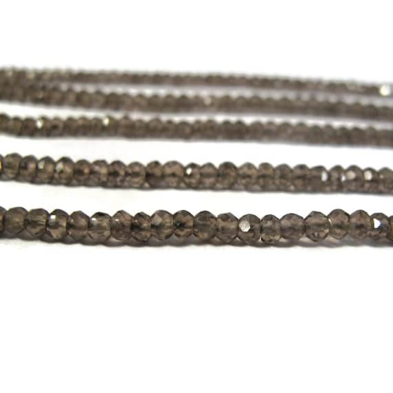 Dark Smoky Quartz Beads, Faceted Rondelles, 3.5mm - 4mm, 6.5 Inch Strand of Natural Gemstones for Making Jewelry (R-Sq4)