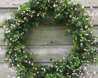 Boxwood, White Pip Berry Wreath, Spring Wreath, Summer Wreath, Pip Berry Wreath
