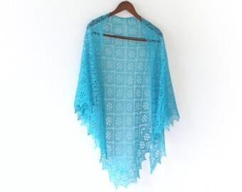Aquamarine Knitted shawl, handknit shawl, bridal shawl, bridesmaids shawl, lace shawl, turquoise shawl, gift for her, wedding shawl