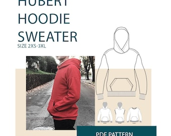 Hoodie sewing pattern, hoodie pattern for men, men's hoodie PDF pattern for sewing, sweater pattern tutorial, Men's PDF sewing patterns