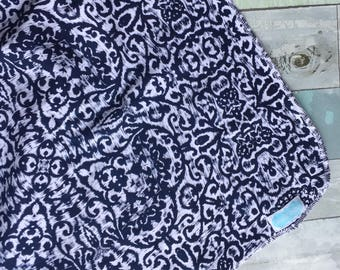 Navy and White IKAT pattern swaddle blanket-photography prop- receiving blanket