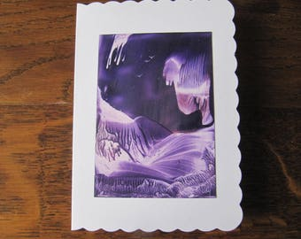 Original Encaustic Painting greeting card here or there 51