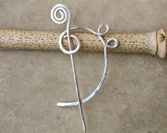 Little Sterling Silver Bass Clef Shawl Pin, Scarf Pin, Musician Gift for Her Sweater Brooch, Fastener, Closure, Music Jewelry F Clef, Women