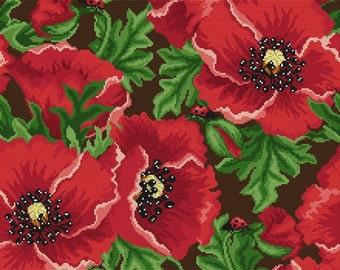 """Cross stitch pattern """"Pillow - Poppies"""""""
