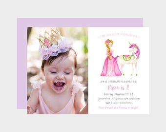 Princess Birthday Party Photo Invitation, Girl Princess Unicorn Photo Birthday Invitation, Pink Girl Princess Birthday, Watercolor Printable
