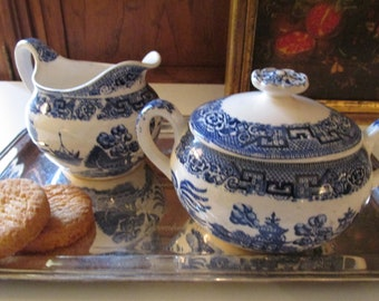 Vintage Blue Willow Creamer and Sugar Set, Blue and White Creamer and Sugar Set, English Country, Chinoiserie Ironstone