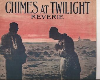 Chimes at Twilight Reverie, Vintage Sheet Music, Music by R. G. Gradi, 1910, Scene at Twilight, Dusk, Blue, Sky Pink