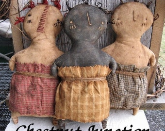 Stump Sisters EPATTERN...primitive country cloth doll craft digital download sewing pattern...PDF...1.99
