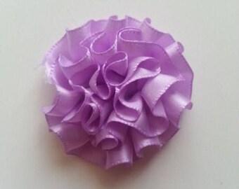 fleur en ruban de satin mauve 50mm