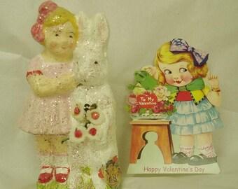 Rabbit bunny girl  valentine valentines sweethearts papier mache Teena Flanner Original