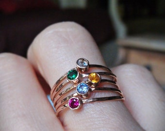 MOTHER'S DAY GIFT, Birthstone stacking rings with 14k gold set faceted gemstones set of 5