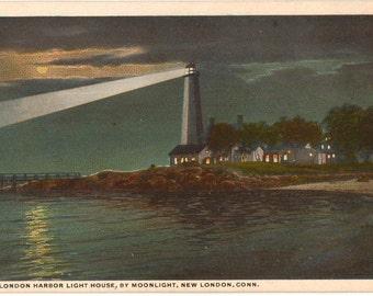 Vintage Postcard, New London, Connecticut, New London Harbor Lighthouse