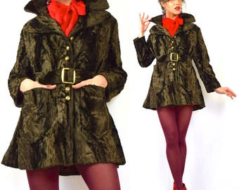 Vintage 60s 70s Dark Chocolate Brown Plush Crushed Velvet Belted Short Coat with Brick Red Satin Lining (size small, medium)