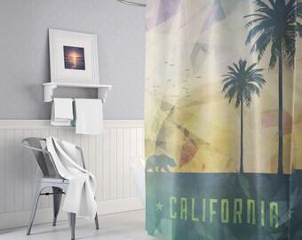 California Artwork Shower Curtain, California Shower Decor, Summer, Beach, Boho Bathroom Decor, Bath, Bohemian, Trendy, Unique Gifts, Indie