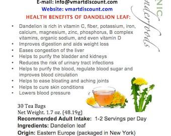 Simply Natural 100% Organic Dandelion Leaf Tea Herbal Supplement 30 Bags- Caffeine Free