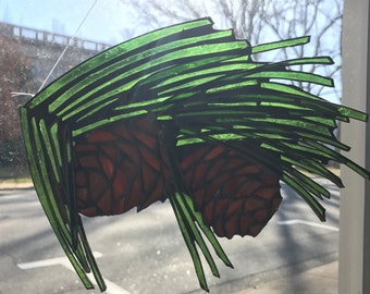 Long leaf Pine Tree Sun Catcher Stained Glass Pinecone