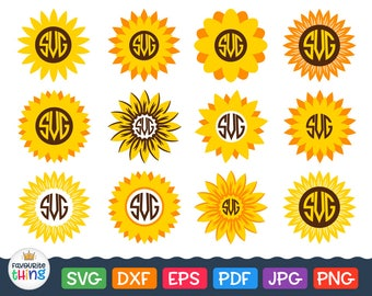 Sunflower Svg Sunflower Monogram Svg Thankful sunflower Svg Thanksgiving Day Svg files Cricut cut files, Silhouette dxf sunflower frame svg