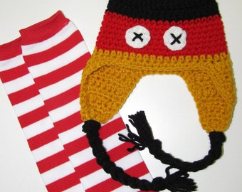 MOUSE SET - Crochet hat and leg warmers set - Boy or Girl - Mickey Mouse inspired