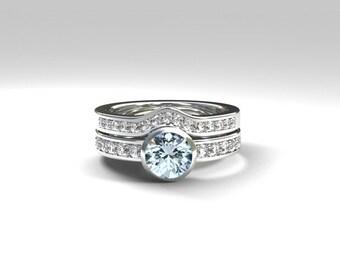Aquamarine solitaire engagement ring set made from Platinum, diamond ring set, diamond wedding band, half eternity, light blue, bezel