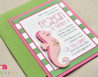 Seahorse Birthday Party Invitation ·  STRIPED A2 LAYERED · Green and Fuchsia · Baby Shower | Summer Pool Party | Under the Sea