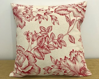 """Red French Provincial Linen Fabric Floral Cushion Cover. Decorative Throw Pillow. 16""""/18""""/20"""". Made Australia. French Decor"""