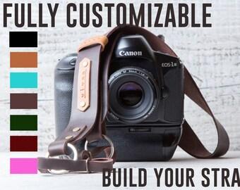 Camera strap personalized camera strap Nikon camera strap Canon camera strap Sony camera strap monogram camera strap leather dslr strap