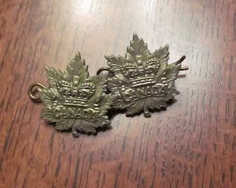Canada Boer War General List Collar Badge Pair