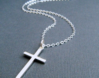 LONG silver cross necklace. LARGE. sterling silver cross pendant. smooth. simple necklace. christian jewelry. 1 1/4 inch cross. 32 inch
