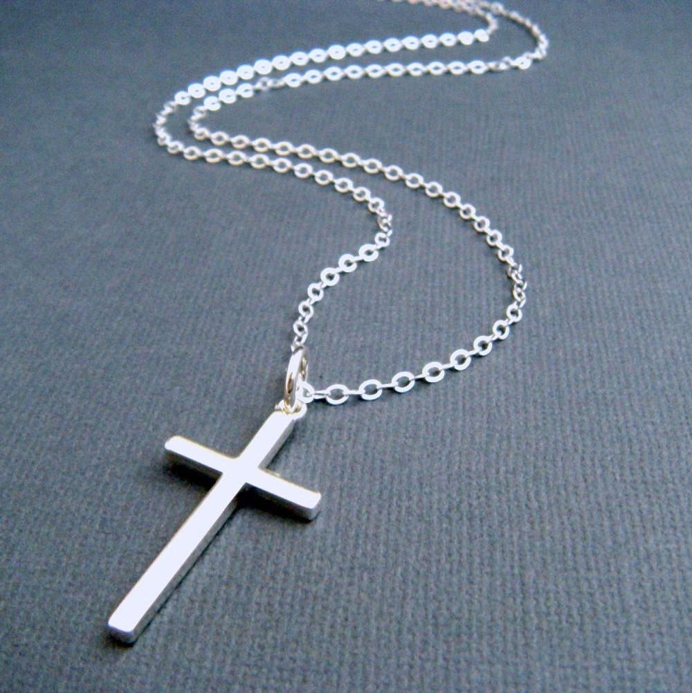 Long silver cross necklace large sterling silver cross zoom aloadofball Images