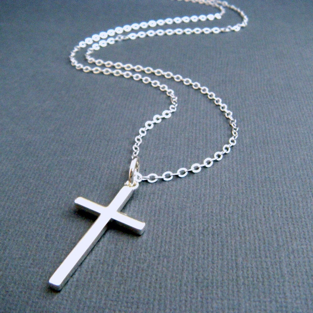 Long silver cross necklace large sterling silver cross zoom aloadofball