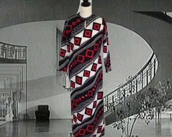 Vintage 70's Caftan, Bold Print, Red Black White, Maxi Dress, Polyester Knit, Loungewear, Long Dress, Geometric, Kaftan, Stretchy, Mod