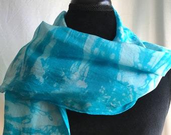 Turquoise Hand Dyed Silk Scarf// Striped//Long//Unique