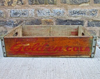 Sundrop Golden Cola Vintage Wooden Crate 1960s - Soda Advertising - Collectible - SunDrop Cola - Sundrop Bottling Company - Shasta Wisconsin