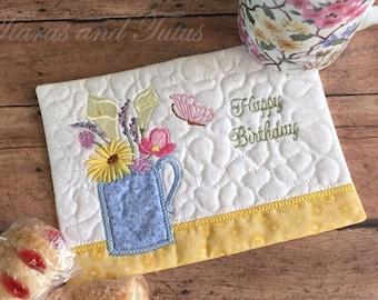 Birthday Gifts, Mug Rug, Snack Mat, Coaster, Birthday Mug Rug, Coffee Lover Gifts, Gifts for Her, Kitchen Decor