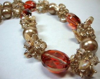 Crystal in Bronze & Topaz Bold Crystals and Pearls Bridal Bridesmad Wedding Jewelry Formal Occasion