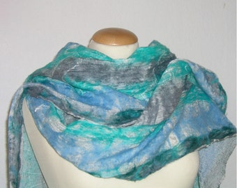 Scarf, NUNOFILZ turquoise/grey/blue, silk merino wool