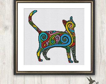 Rainbow Cat Cross Stitch Pattern, abstract animal cross stitch pattern, modern cross stitch pattern, cat cross stitch pattern, needlecraft