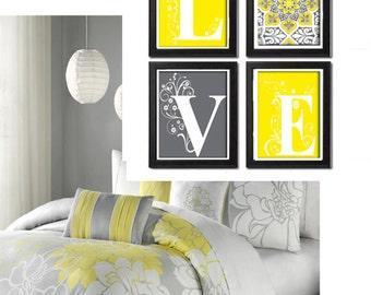 Home Decor Digital Love Yellow Greys White Wall Art Vintage / Modern Inspired -Set of 4 - 8x11 Prints -  (UNFRAMED)
