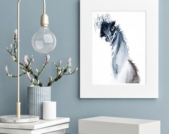 Watercolor Ostrich print Whimsical Bird painting wall art gift  Funny anthropomorphic artwork Ostrich