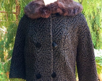 Vintage Black Double Breasted Persian Lamb Jacket
