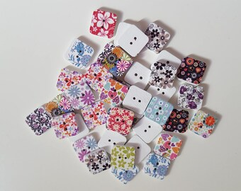 Set of 10 multicolor square wooden buttons