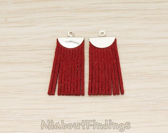 PDT1718-R-RE // Glossy Original Rhdium Plated Red Small Suede Pendant, 2Pc
