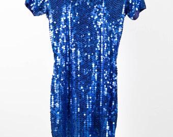 Fabolous Blue Short Sleeve Women Dress- Vintage Sequin Dress - Vintage Short Dress - Party Dress - Stretch Dress - US 8 Size